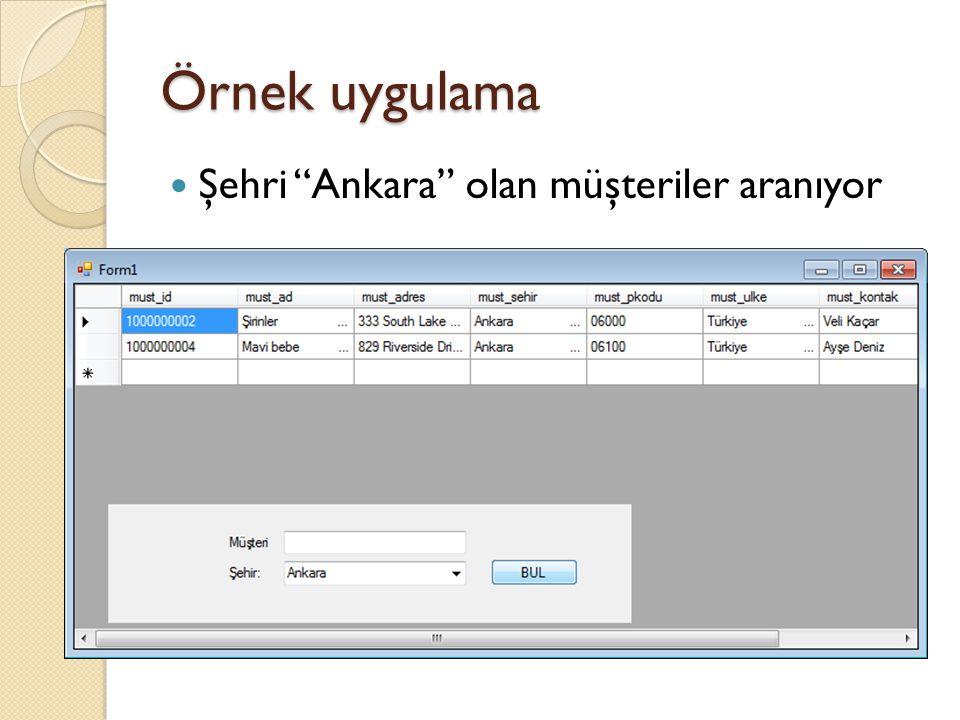 Örnek uygulama Şehri Ankara olan müşteriler aranıyor