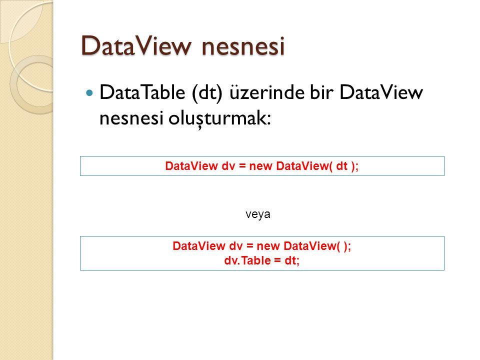 DataView dv = new DataView( dt ); DataView dv = new DataView( );