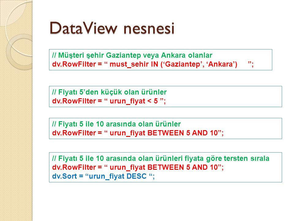 DataView nesnesi // Müşteri şehir Gaziantep veya Ankara olanlar