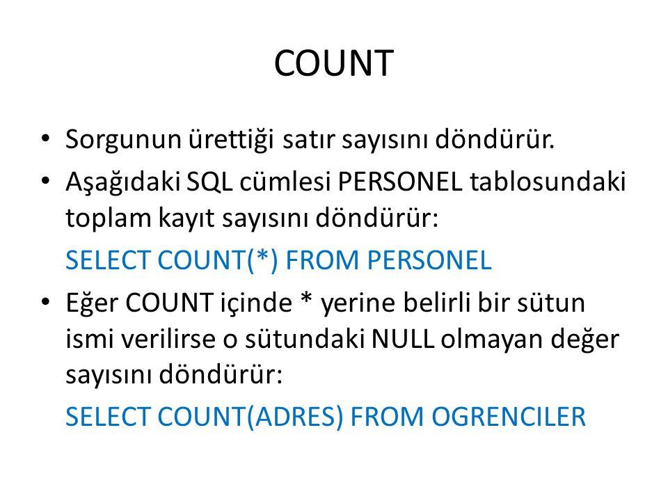 COUNT Sorgunun ürettiği satır sayısını döndürür.