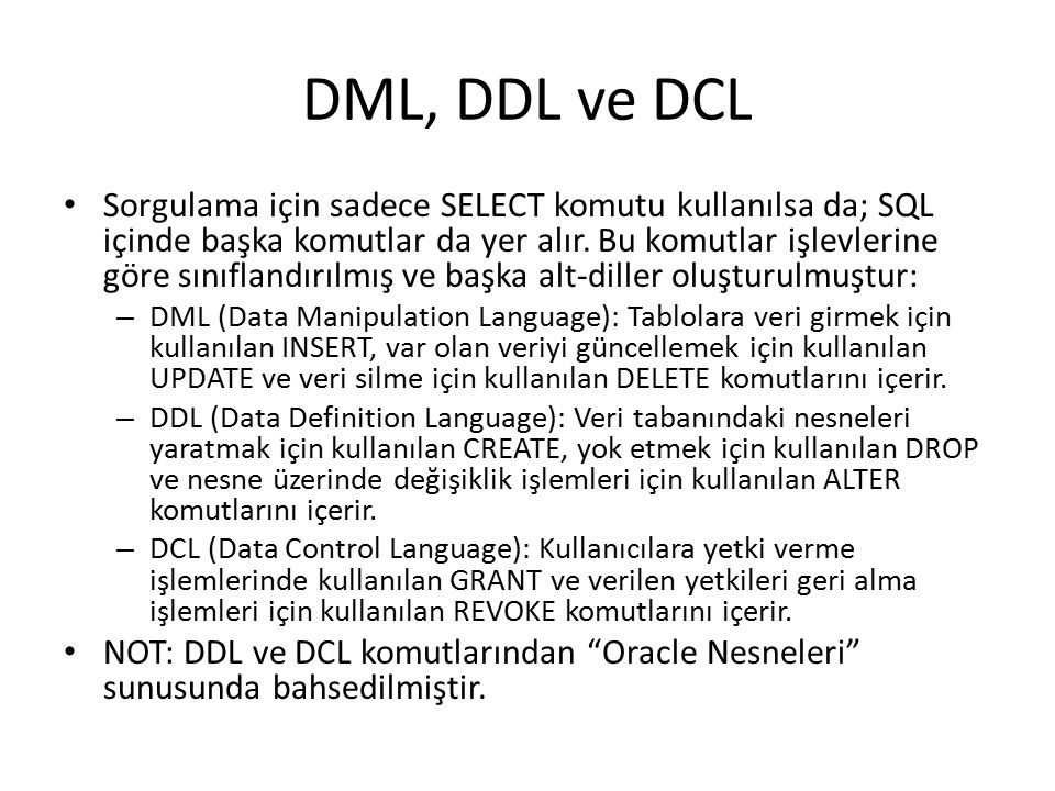 DML, DDL ve DCL