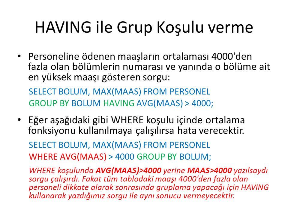 HAVING ile Grup Koşulu verme