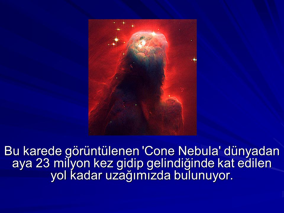 Bu karede görüntülenen Cone Nebula dünyadan aya 23 milyon kez gidip gelindiğinde kat edilen yol kadar uzağımızda bulunuyor.