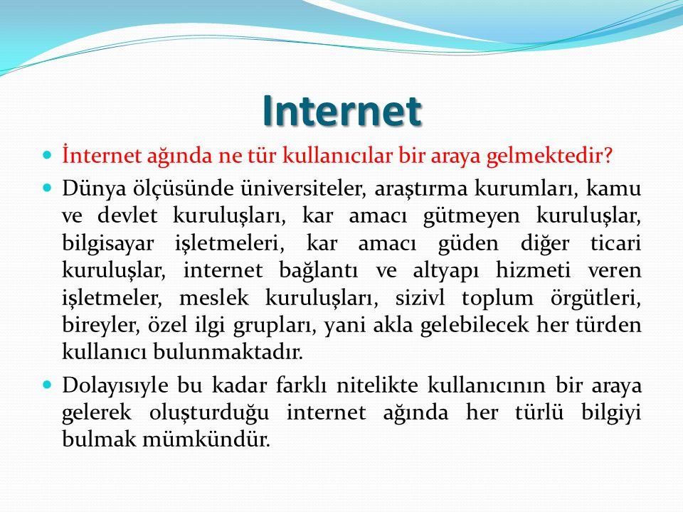 Internet İnternet ağında ne tür kullanıcılar bir araya gelmektedir