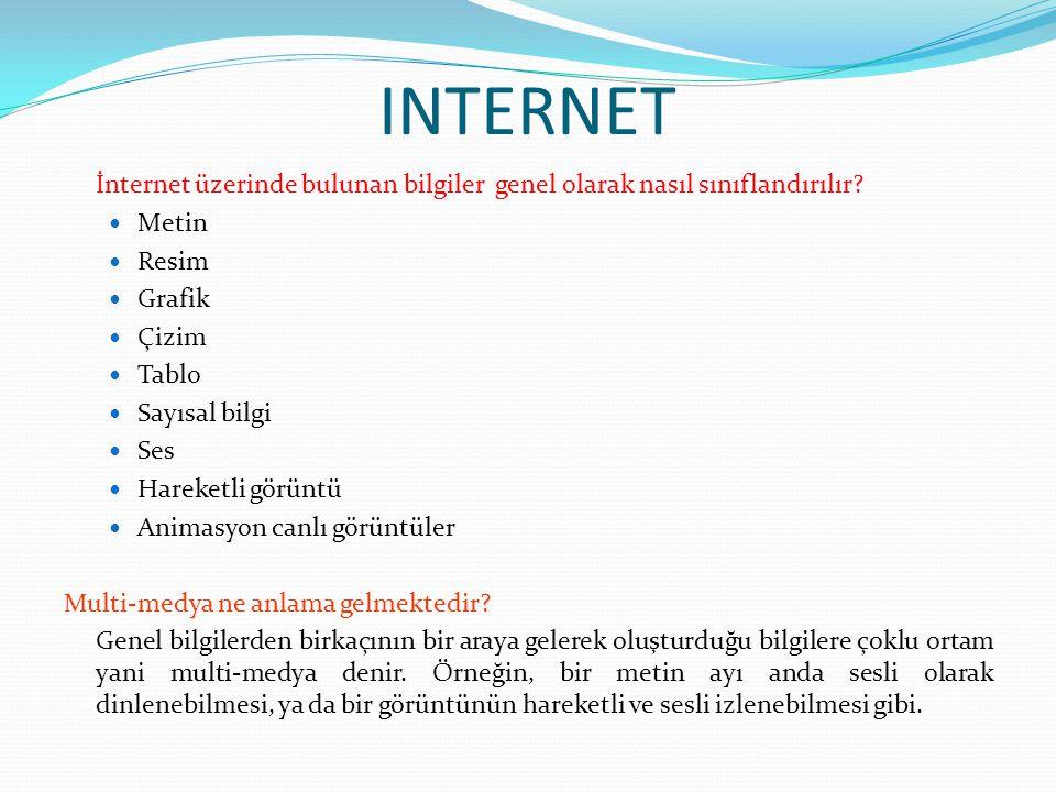 INTERNET İnternet üzerinde bulunan bilgiler genel olarak nasıl sınıflandırılır Metin. Resim. Grafik.