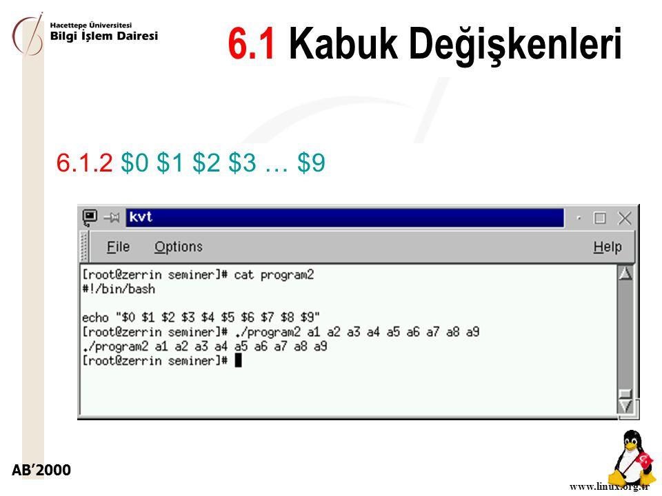 6.1 Kabuk Değişkenleri 6.1.2 $0 $1 $2 $3 … $9