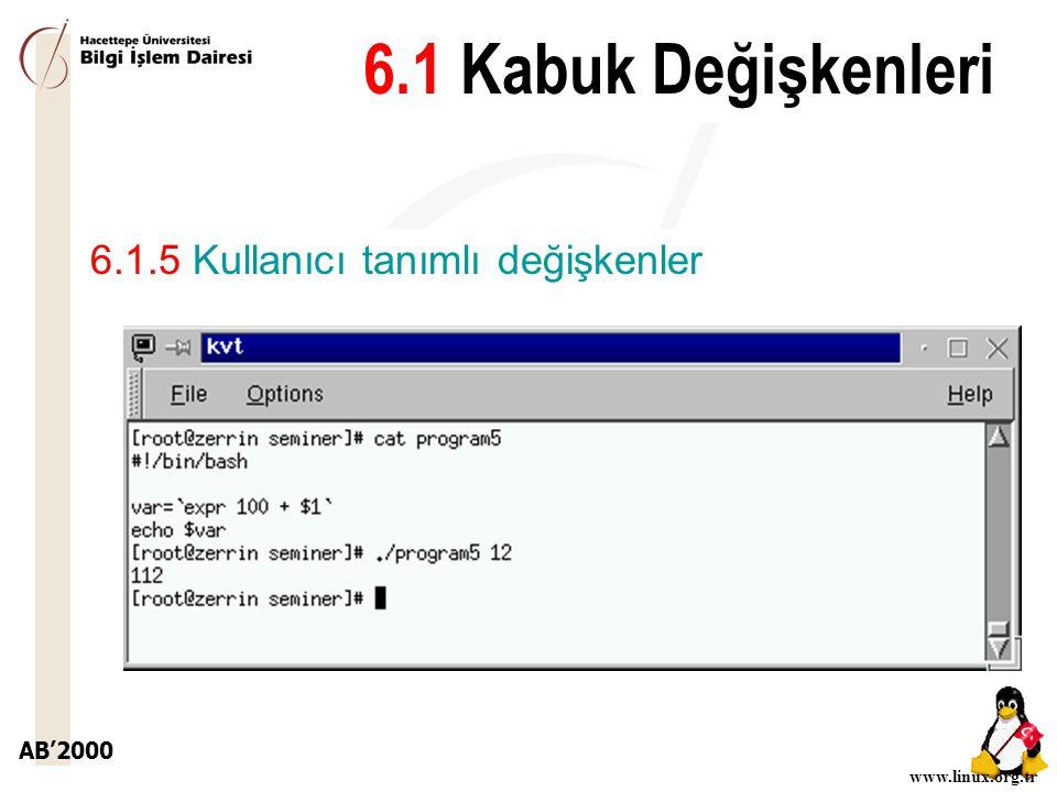 6.1 Kabuk Değişkenleri 6.1.5 Kullanıcı tanımlı değişkenler