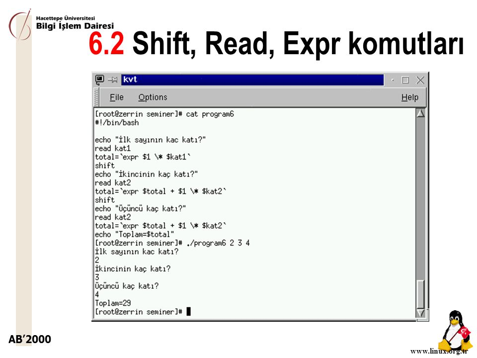 6.2 Shift, Read, Expr komutları