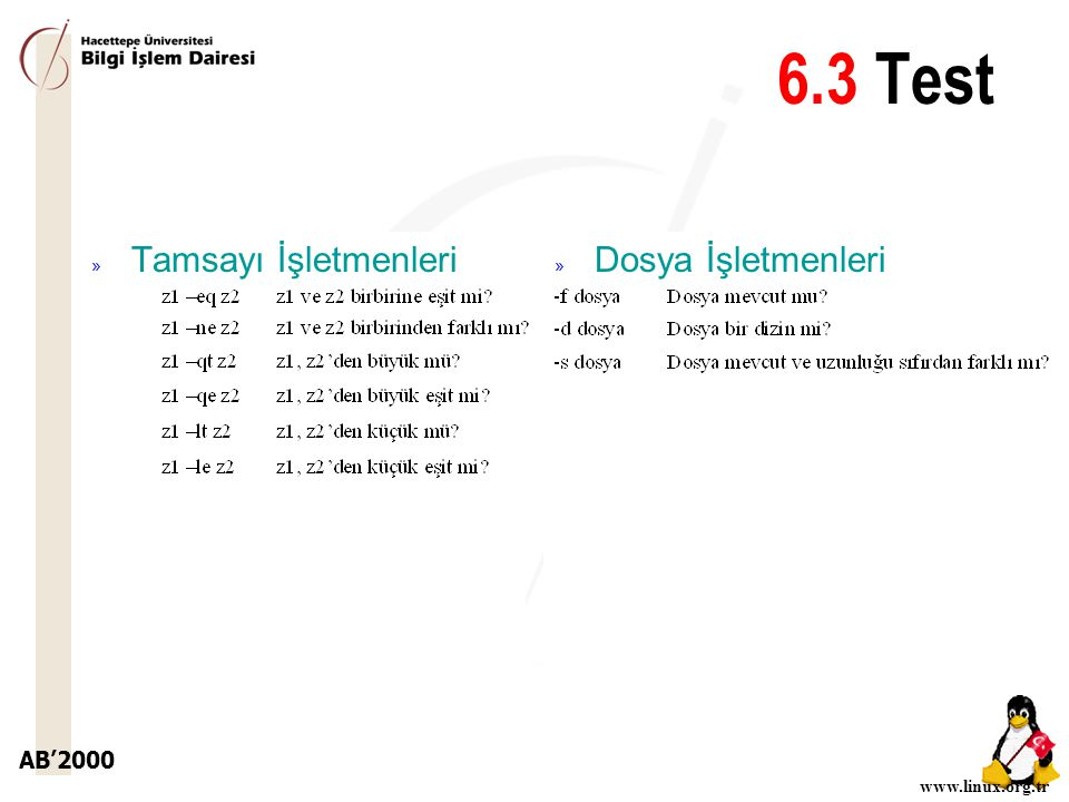 6.3 Test Tamsayı İşletmenleri Dosya İşletmenleri