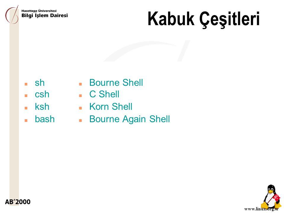 Kabuk Çeşitleri sh csh ksh bash Bourne Shell C Shell Korn Shell