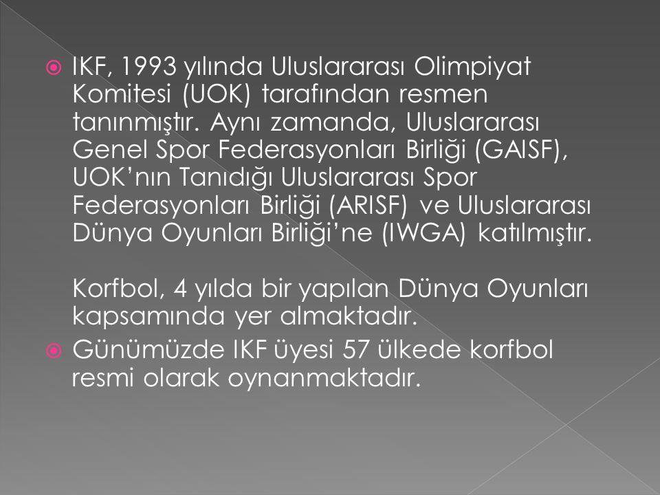 IKF, 1993 yılında Uluslararası Olimpiyat Komitesi (UOK) tarafından resmen tanınmıştır. Aynı zamanda, Uluslararası Genel Spor Federasyonları Birliği (GAISF), UOK'nın Tanıdığı Uluslararası Spor Federasyonları Birliği (ARISF) ve Uluslararası Dünya Oyunları Birliği'ne (IWGA) katılmıştır. Korfbol, 4 yılda bir yapılan Dünya Oyunları kapsamında yer almaktadır.