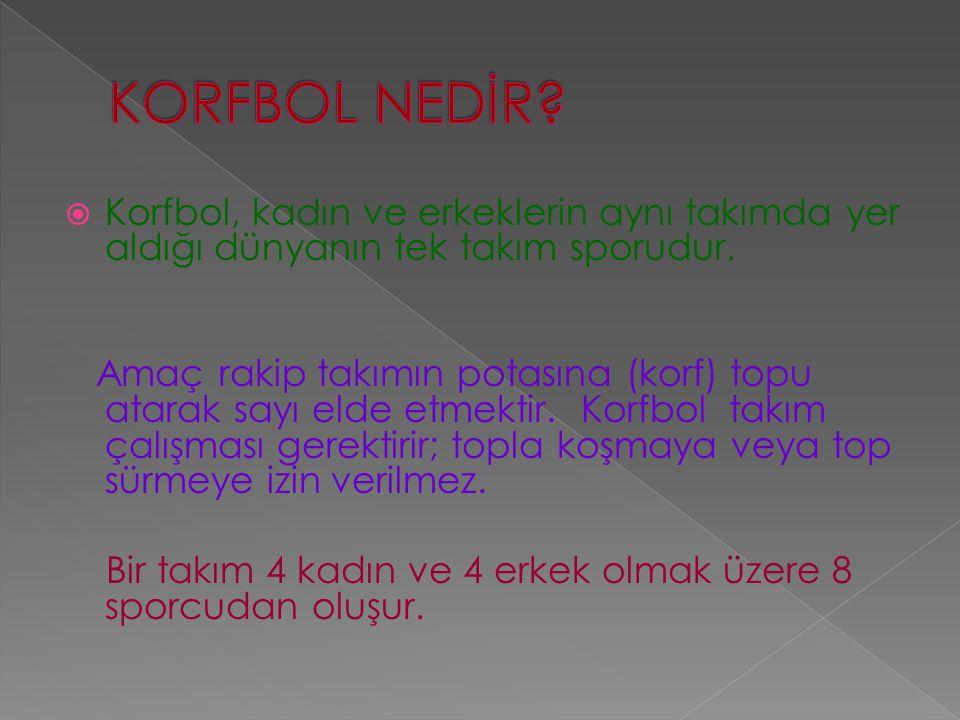 KORFBOL NEDİR Korfbol, kadın ve erkeklerin aynı takımda yer aldığı dünyanın tek takım sporudur.