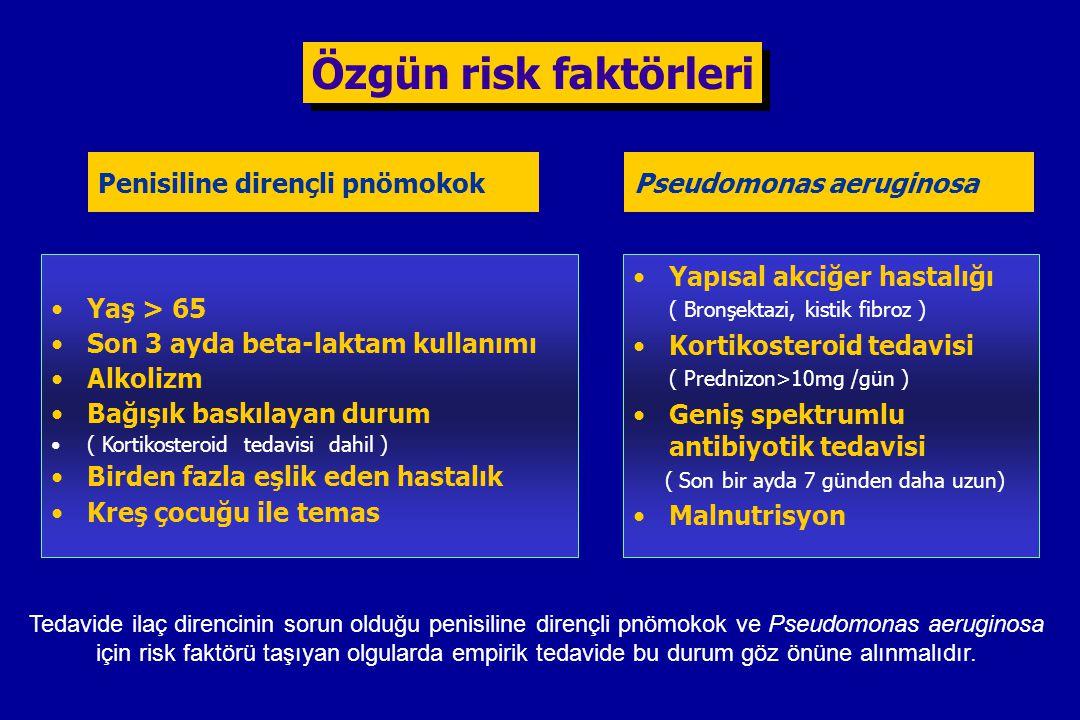 Özgün risk faktörleri Penisiline dirençli pnömokok