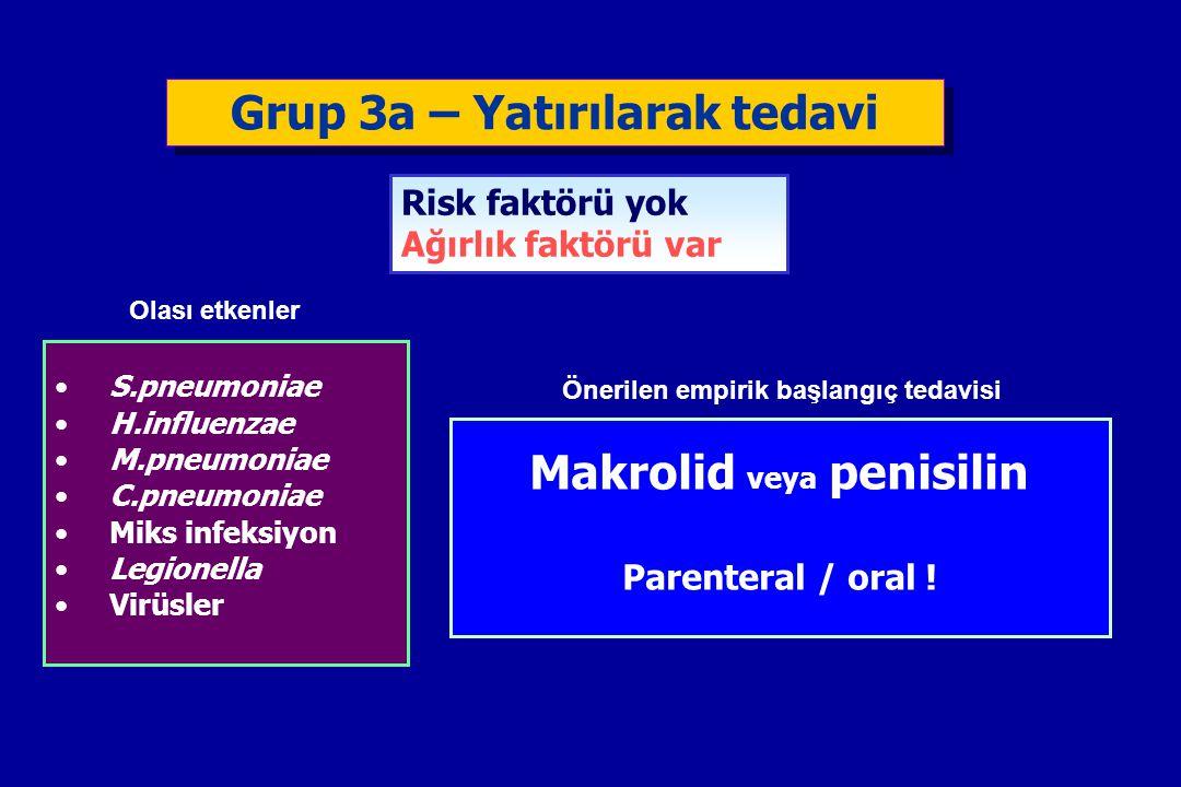 Grup 3a – Yatırılarak tedavi Makrolid veya penisilin