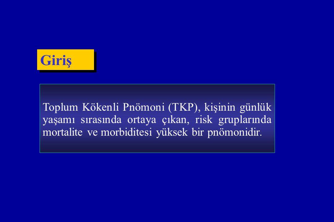 Giriş Toplum Kökenli Pnömoni (TKP), kişinin günlük yaşamı sırasında ortaya çıkan, risk gruplarında mortalite ve morbiditesi yüksek bir pnömonidir.