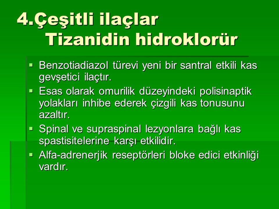 4.Çeşitli ilaçlar Tizanidin hidroklorür