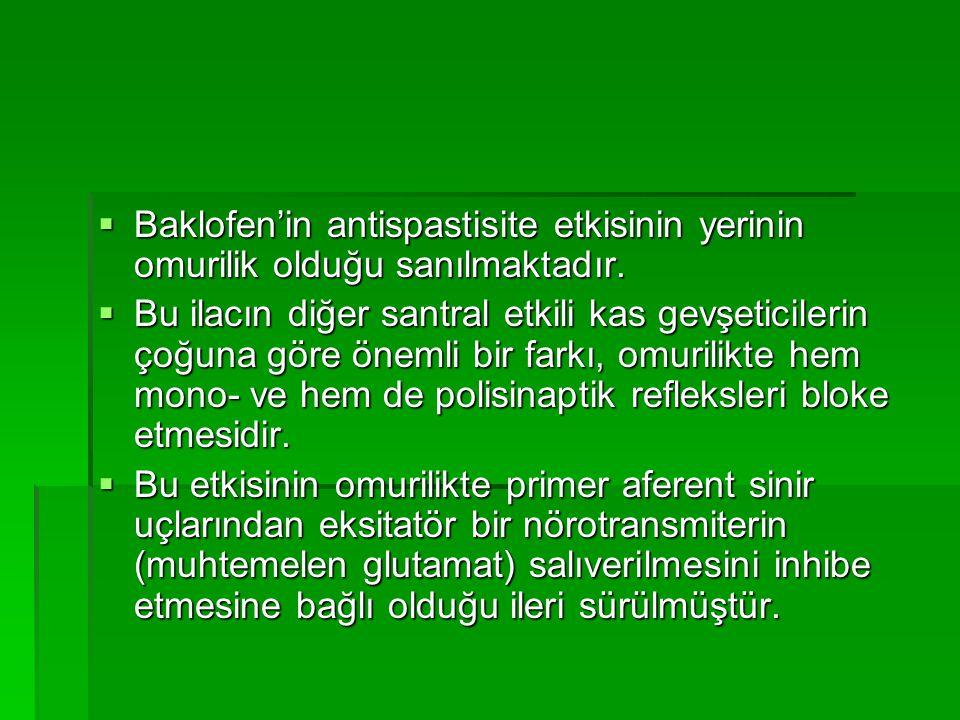 Baklofen'in antispastisite etkisinin yerinin omurilik olduğu sanılmaktadır.