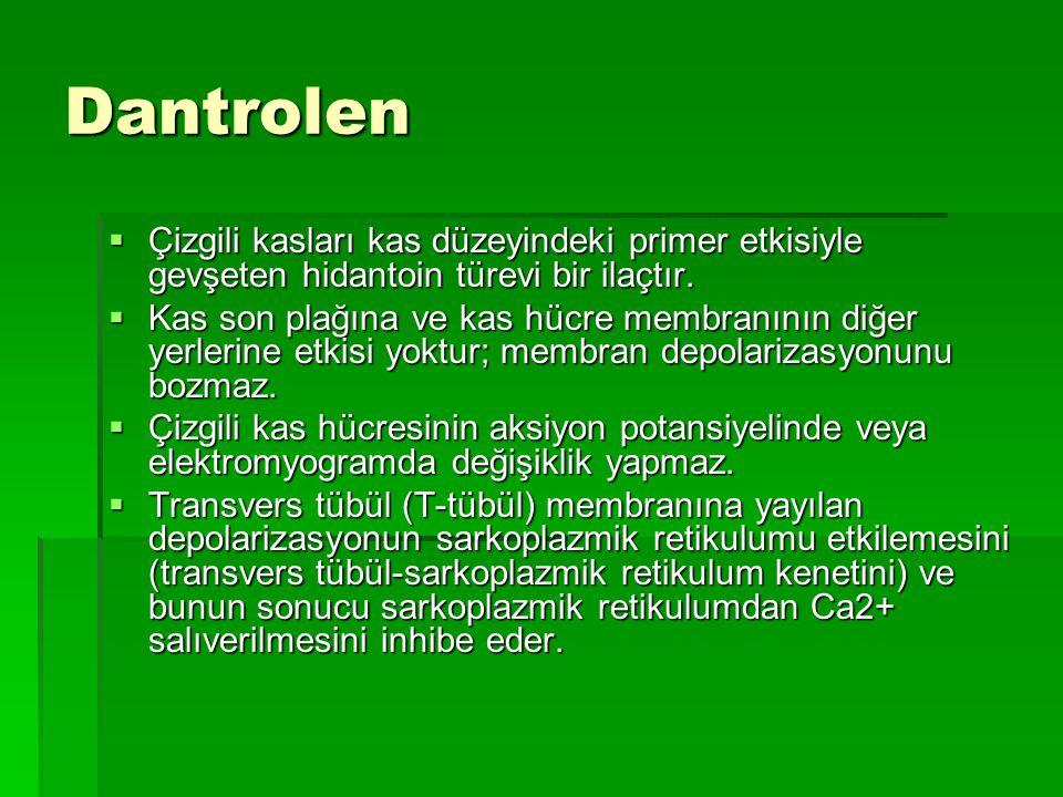 Dantrolen Çizgili kasları kas düzeyindeki primer etkisiyle gevşeten hidantoin türevi bir ilaçtır.