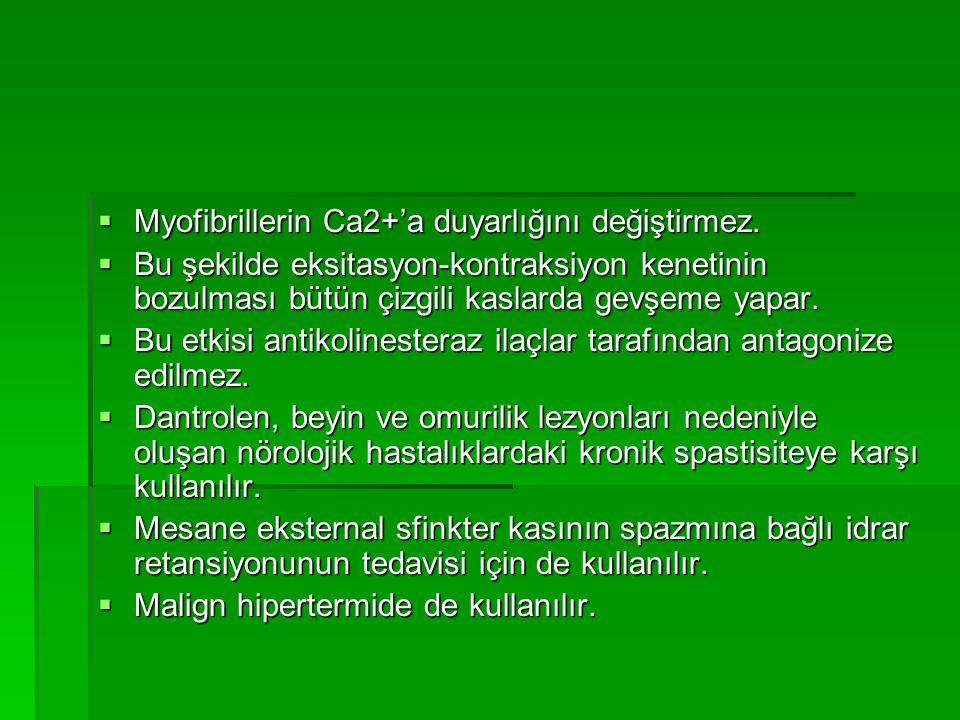 Myofibrillerin Ca2+'a duyarlığını değiştirmez.
