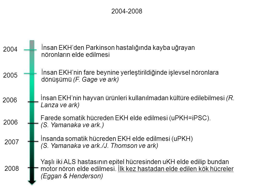 2004-2008 İnsan EKH'den Parkinson hastalığında kayba uğrayan. nöronların elde edilmesi. 2004.
