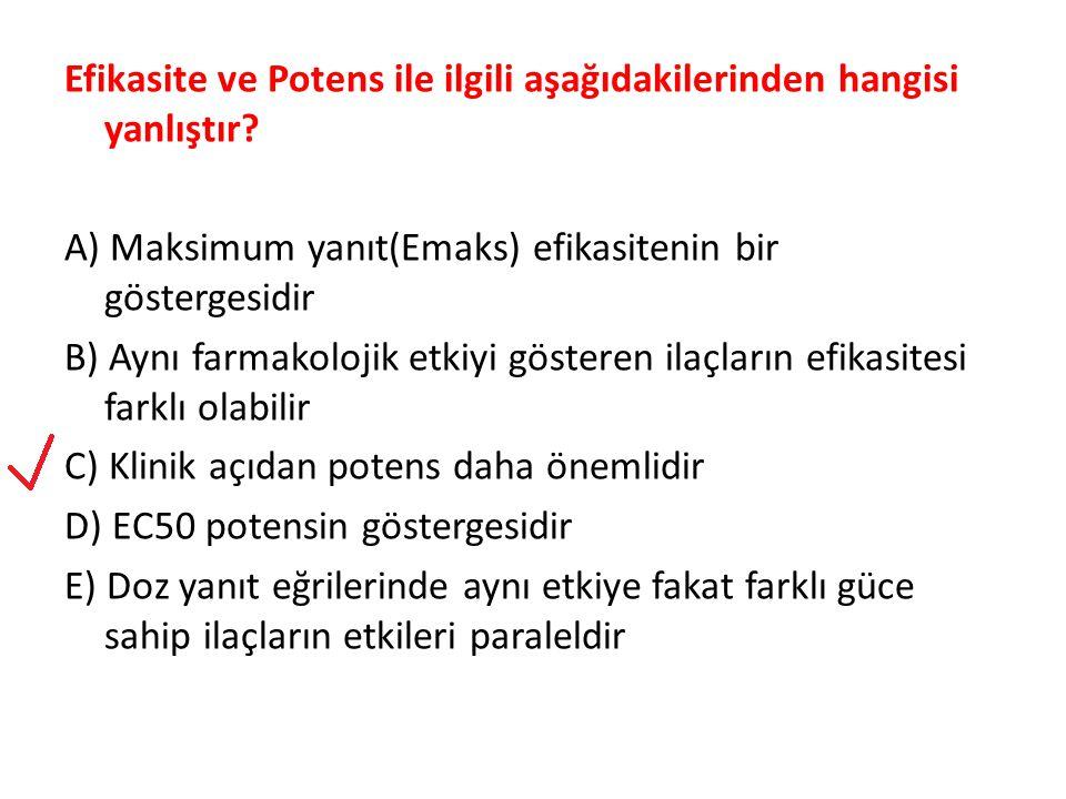 Efikasite ve Potens ile ilgili aşağıdakilerinden hangisi yanlıştır