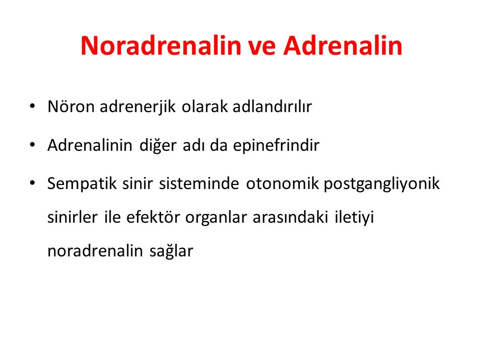 Noradrenalin ve Adrenalin