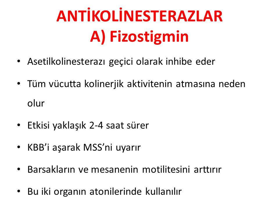 ANTİKOLİNESTERAZLAR A) Fizostigmin