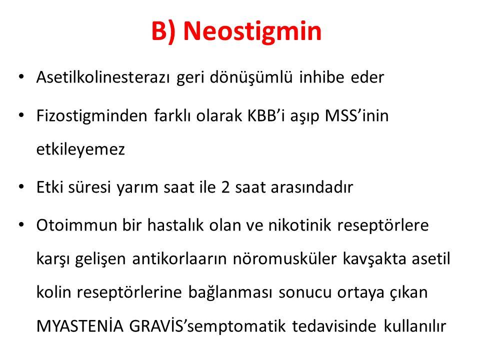 B) Neostigmin Asetilkolinesterazı geri dönüşümlü inhibe eder
