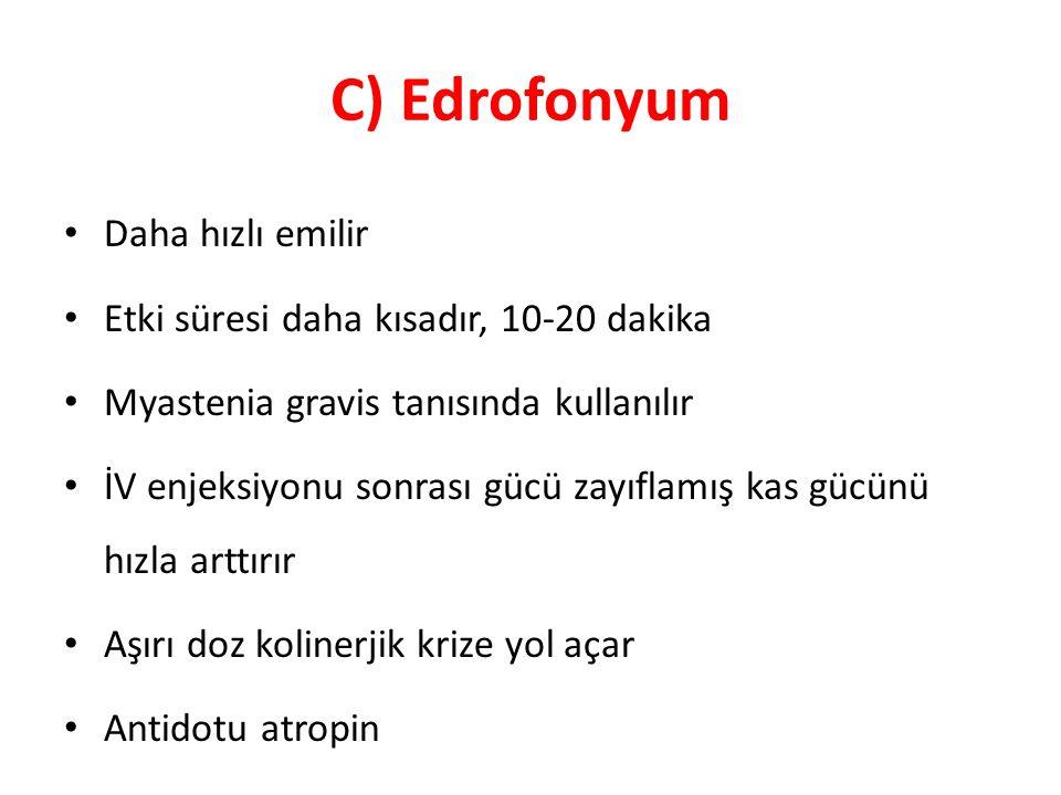 C) Edrofonyum Daha hızlı emilir Etki süresi daha kısadır, 10-20 dakika