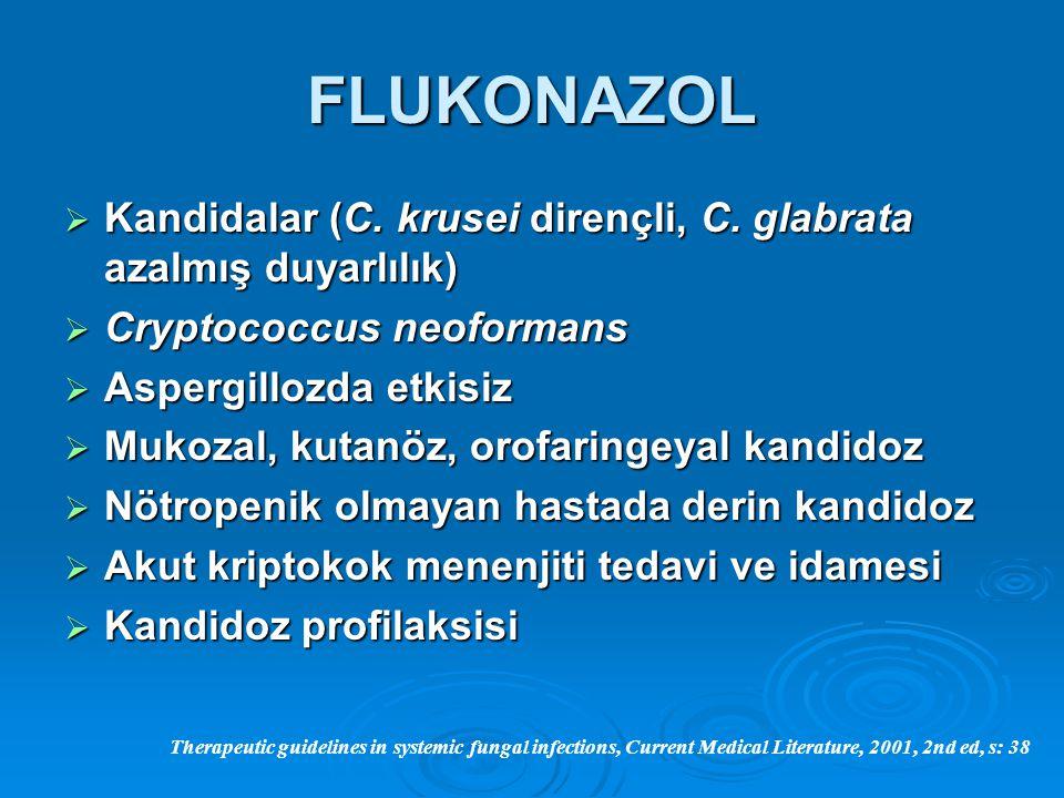 FLUKONAZOL Kandidalar (C. krusei dirençli, C. glabrata azalmış duyarlılık) Cryptococcus neoformans.