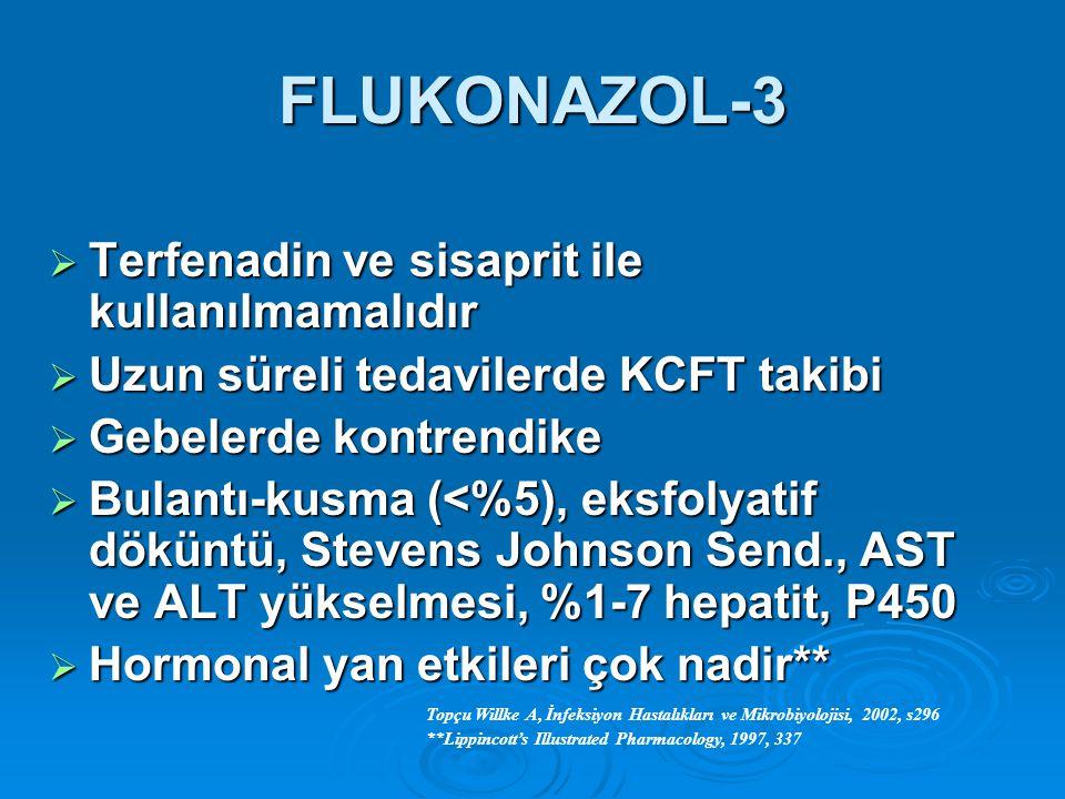 FLUKONAZOL-3 Terfenadin ve sisaprit ile kullanılmamalıdır