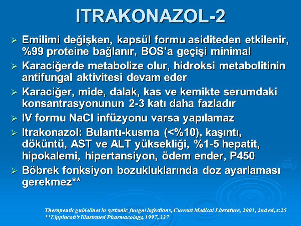 ITRAKONAZOL-2 Emilimi değişken, kapsül formu asiditeden etkilenir, %99 proteine bağlanır, BOS'a geçişi minimal.