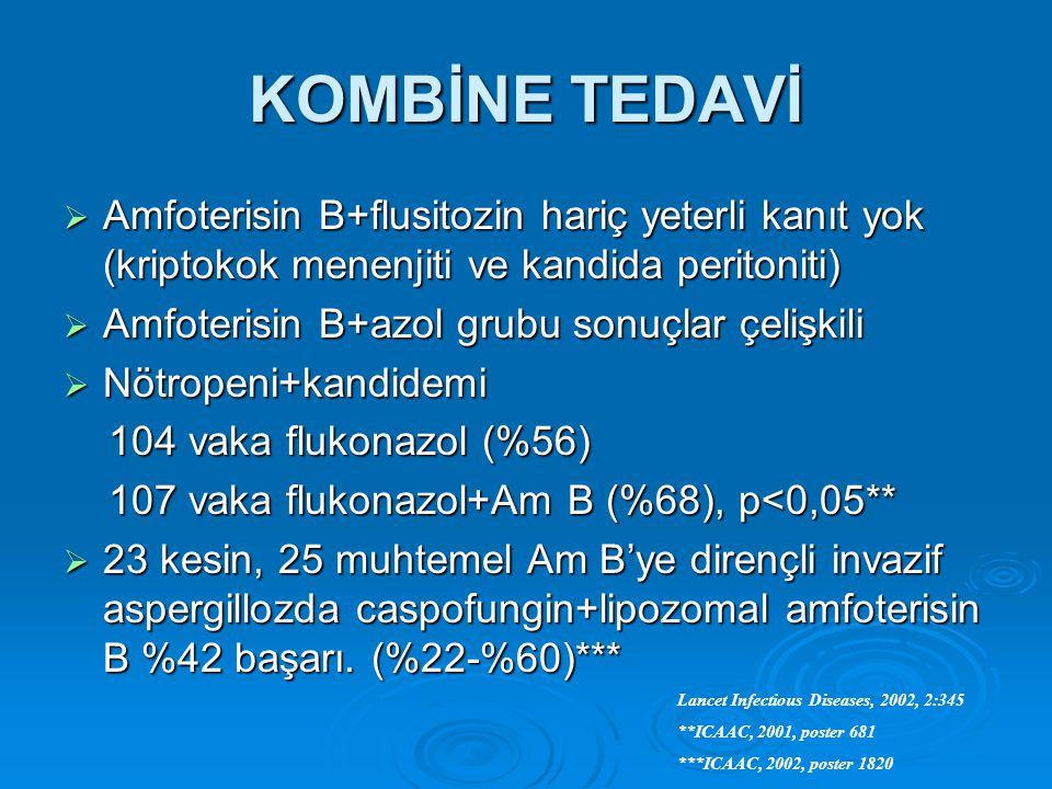 KOMBİNE TEDAVİ Amfoterisin B+flusitozin hariç yeterli kanıt yok (kriptokok menenjiti ve kandida peritoniti)