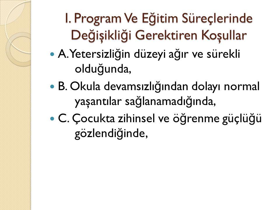 I. Program Ve Eğitim Süreçlerinde Değişikliği Gerektiren Koşullar
