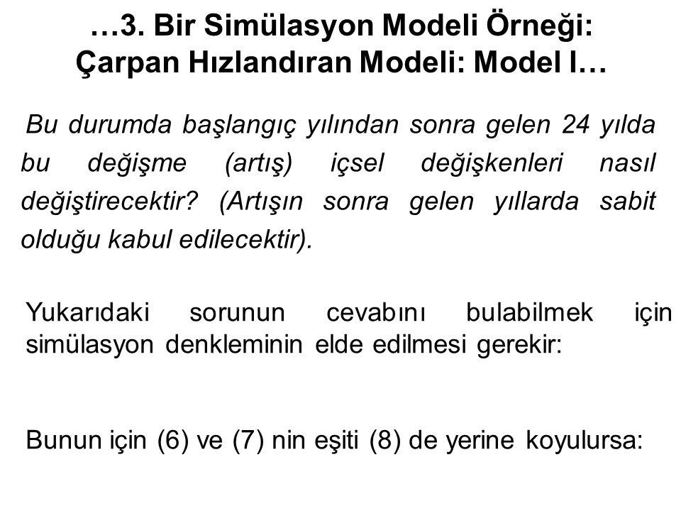 …3. Bir Simülasyon Modeli Örneği: Çarpan Hızlandıran Modeli: Model I…