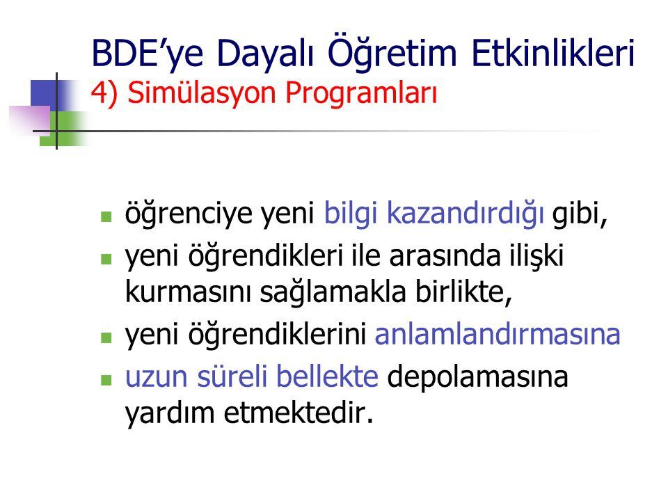 BDE'ye Dayalı Öğretim Etkinlikleri 4) Simülasyon Programları