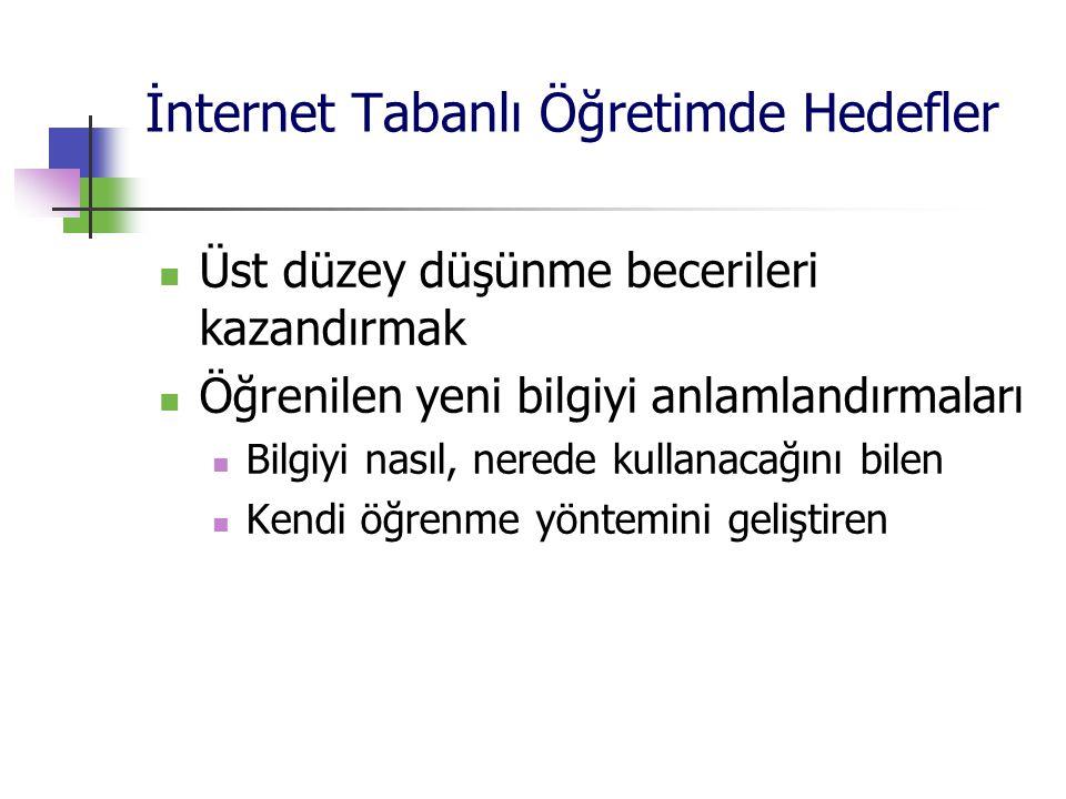 İnternet Tabanlı Öğretimde Hedefler