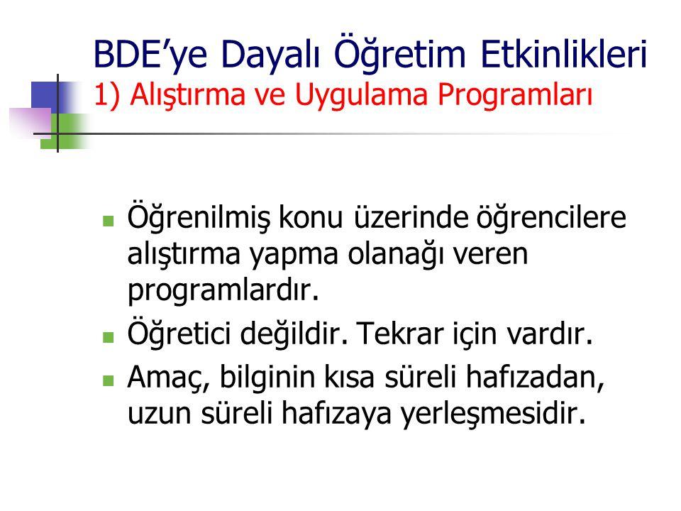 BDE'ye Dayalı Öğretim Etkinlikleri 1) Alıştırma ve Uygulama Programları