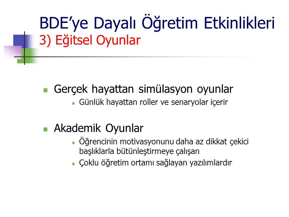 BDE'ye Dayalı Öğretim Etkinlikleri 3) Eğitsel Oyunlar