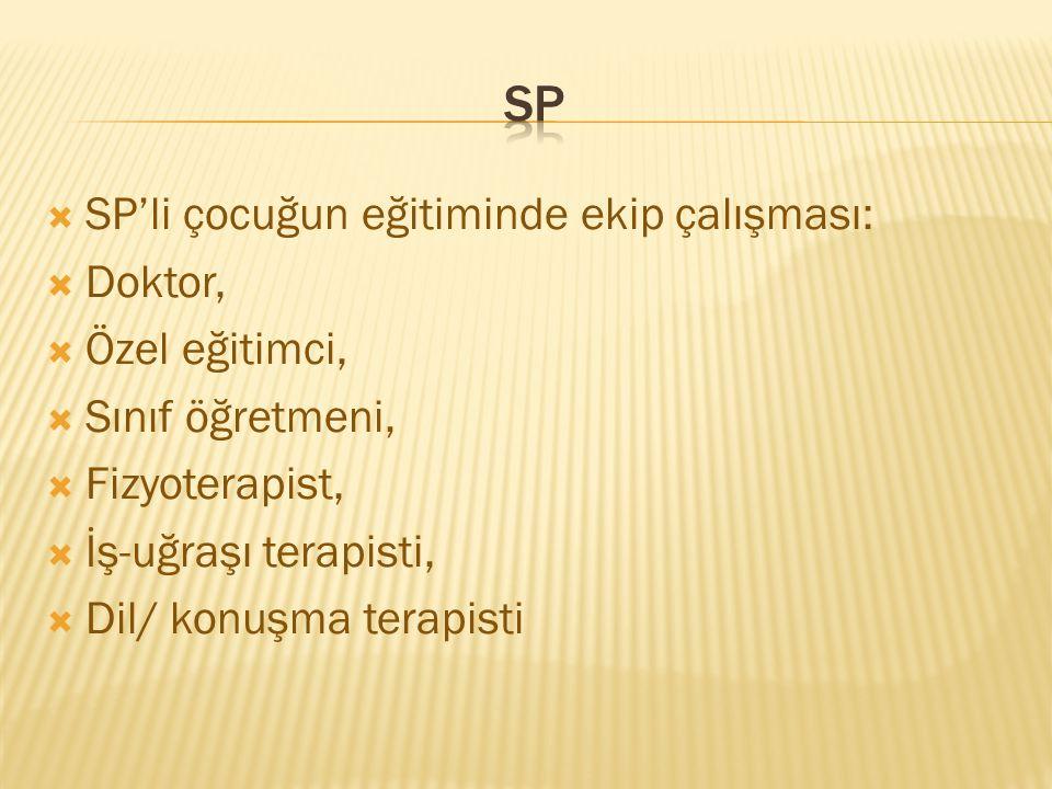 SP SP'li çocuğun eğitiminde ekip çalışması: Doktor, Özel eğitimci,