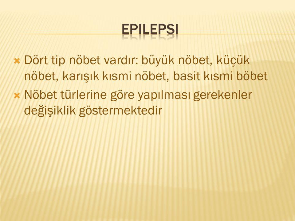 Epilepsi Dört tip nöbet vardır: büyük nöbet, küçük nöbet, karışık kısmi nöbet, basit kısmi böbet.