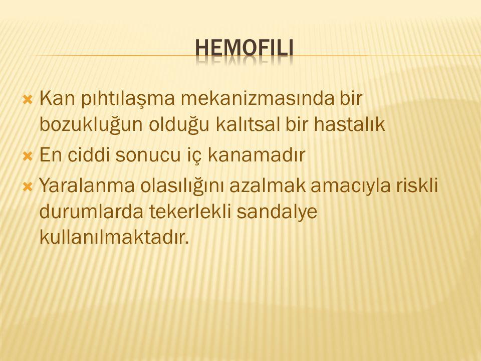 Hemofili Kan pıhtılaşma mekanizmasında bir bozukluğun olduğu kalıtsal bir hastalık. En ciddi sonucu iç kanamadır.