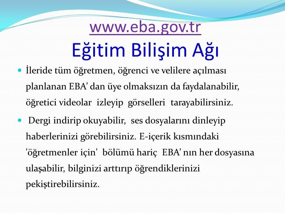 www.eba.gov.tr Eğitim Bilişim Ağı