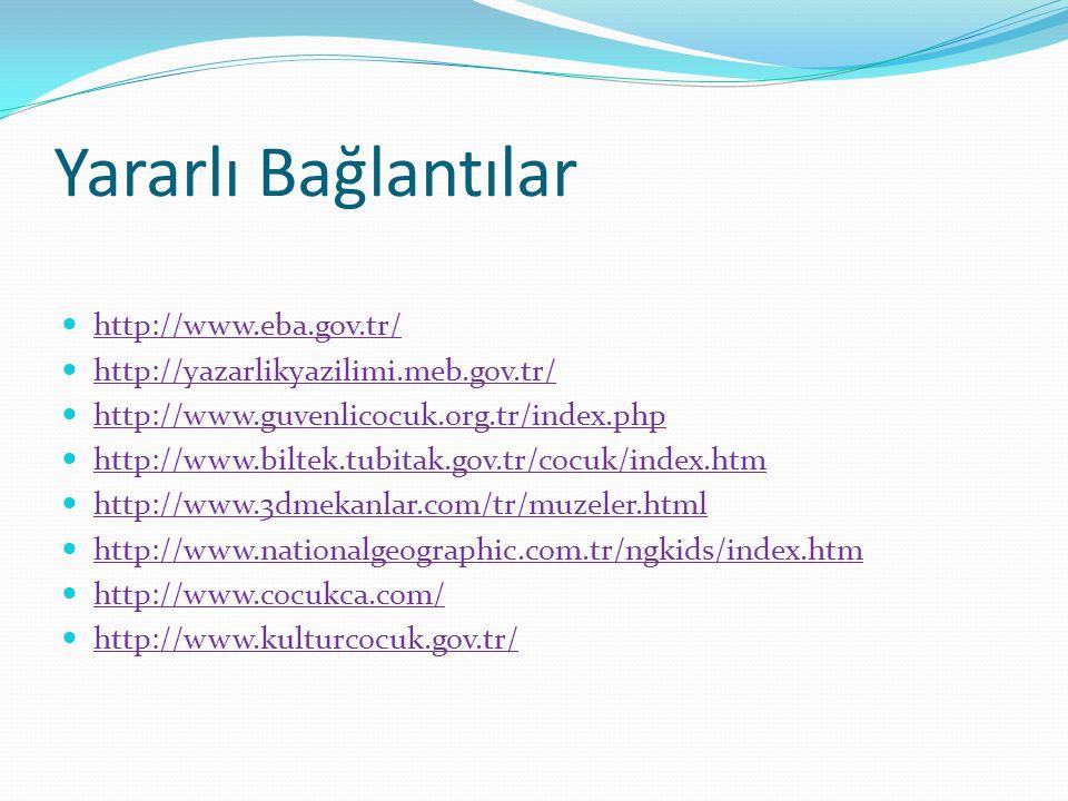 Yararlı Bağlantılar http://www.eba.gov.tr/