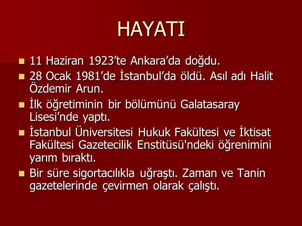 HAYATI 11 Haziran 1923'te Ankara'da doğdu.