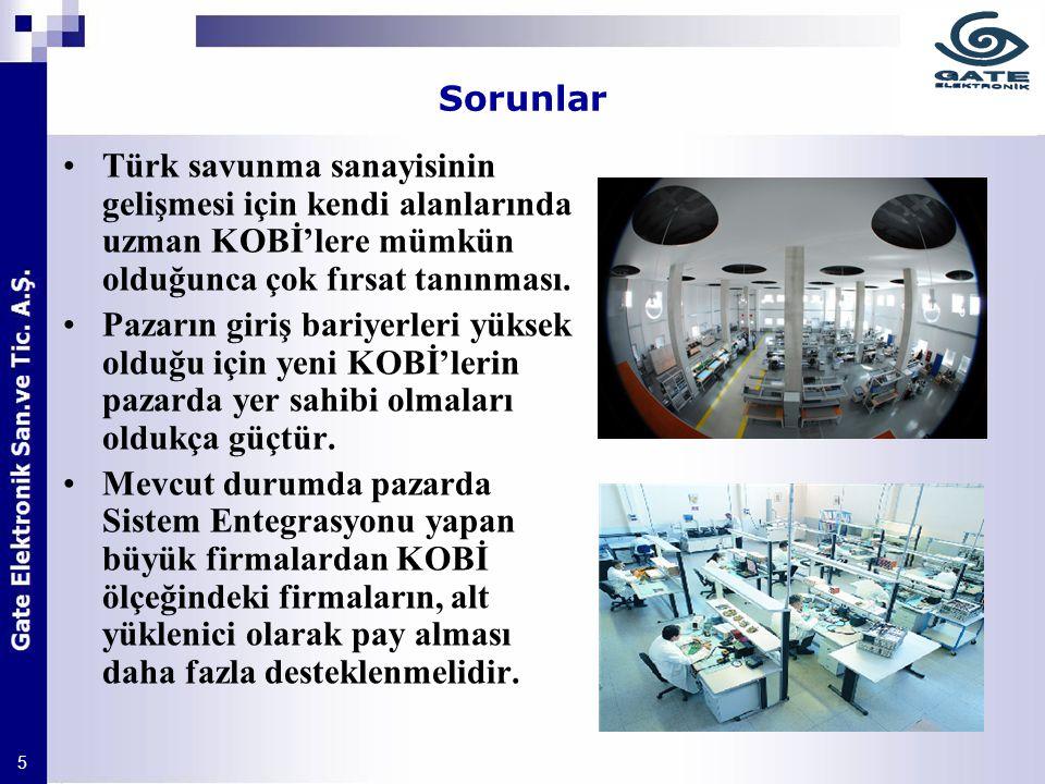 Sorunlar Türk savunma sanayisinin gelişmesi için kendi alanlarında uzman KOBİ'lere mümkün olduğunca çok fırsat tanınması.