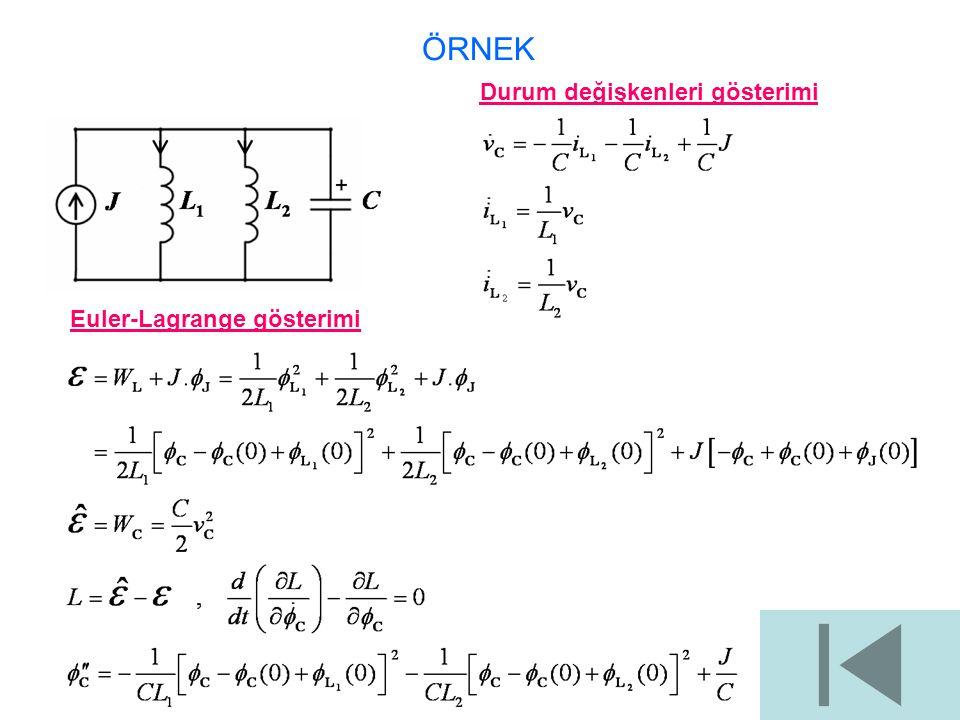 Durum değişkenleri gösterimi Euler-Lagrange gösterimi