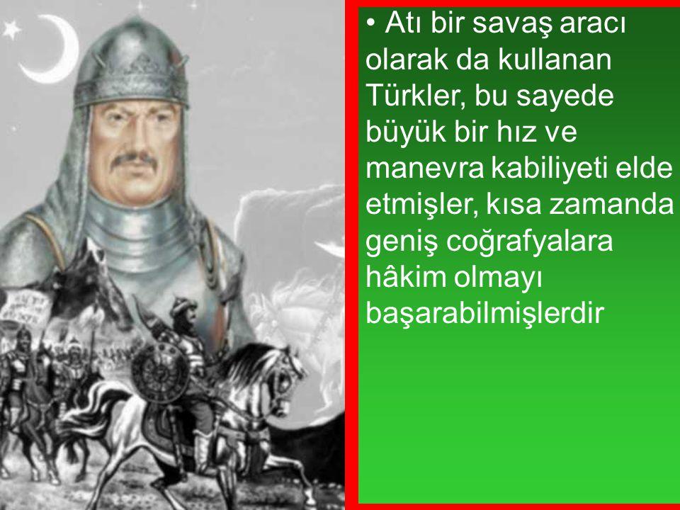 Atı bir savaş aracı olarak da kullanan Türkler, bu sayede büyük bir hız ve manevra kabiliyeti elde etmişler, kısa zamanda geniş coğrafyalara hâkim olmayı başarabilmişlerdir