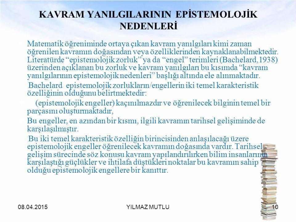KAVRAM YANILGILARININ EPİSTEMOLOJİK NEDENLERİ