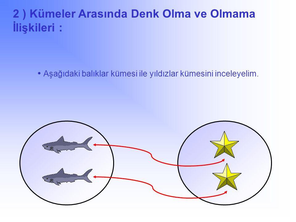 Aşağıdaki balıklar kümesi ile yıldızlar kümesini inceleyelim.